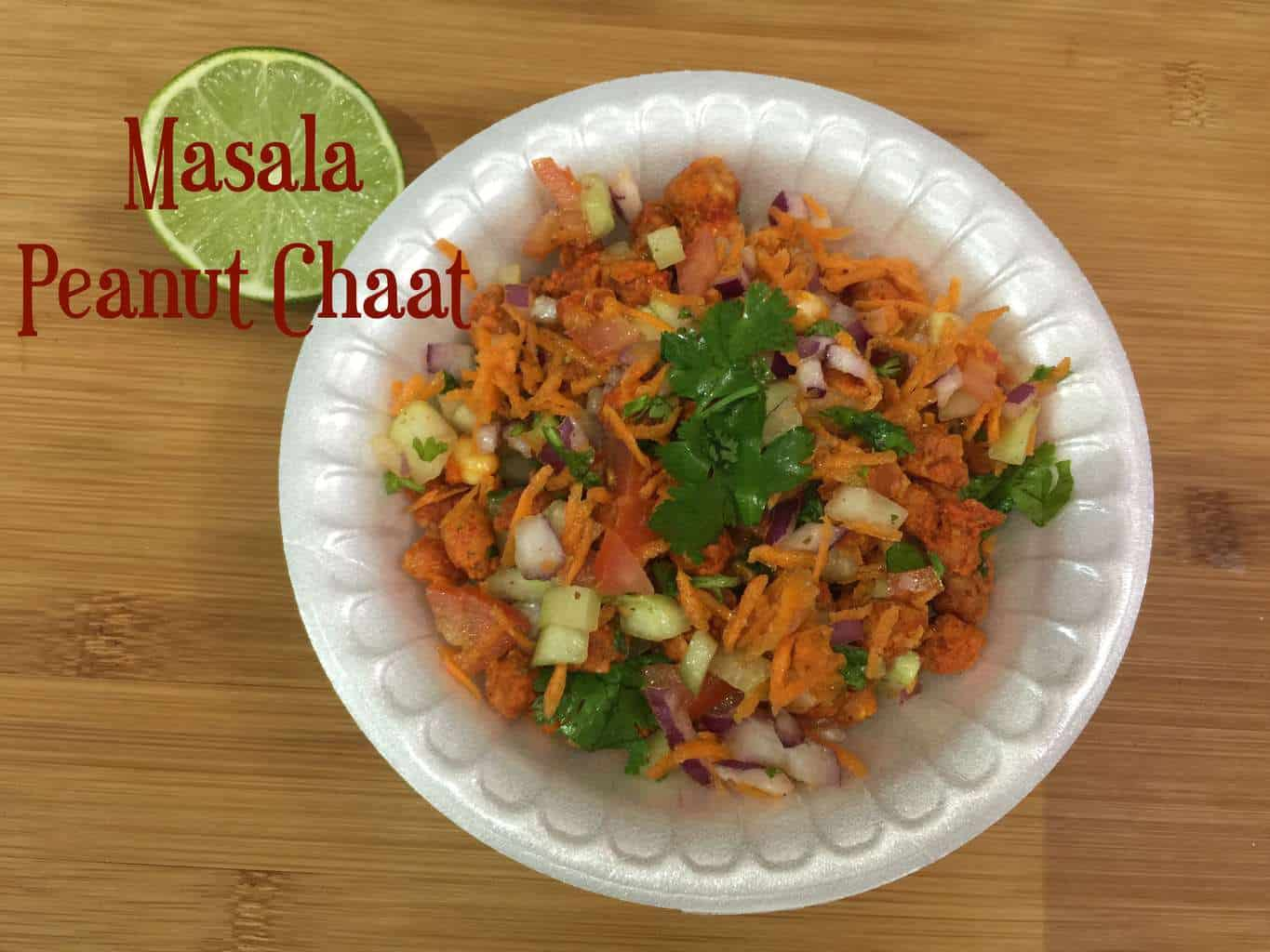 Masala Peanuts Chaat is one of our favorite tea time snack which can be made using masala peanuts,finely chopped vegetables and few spices in less time and its very healthy too