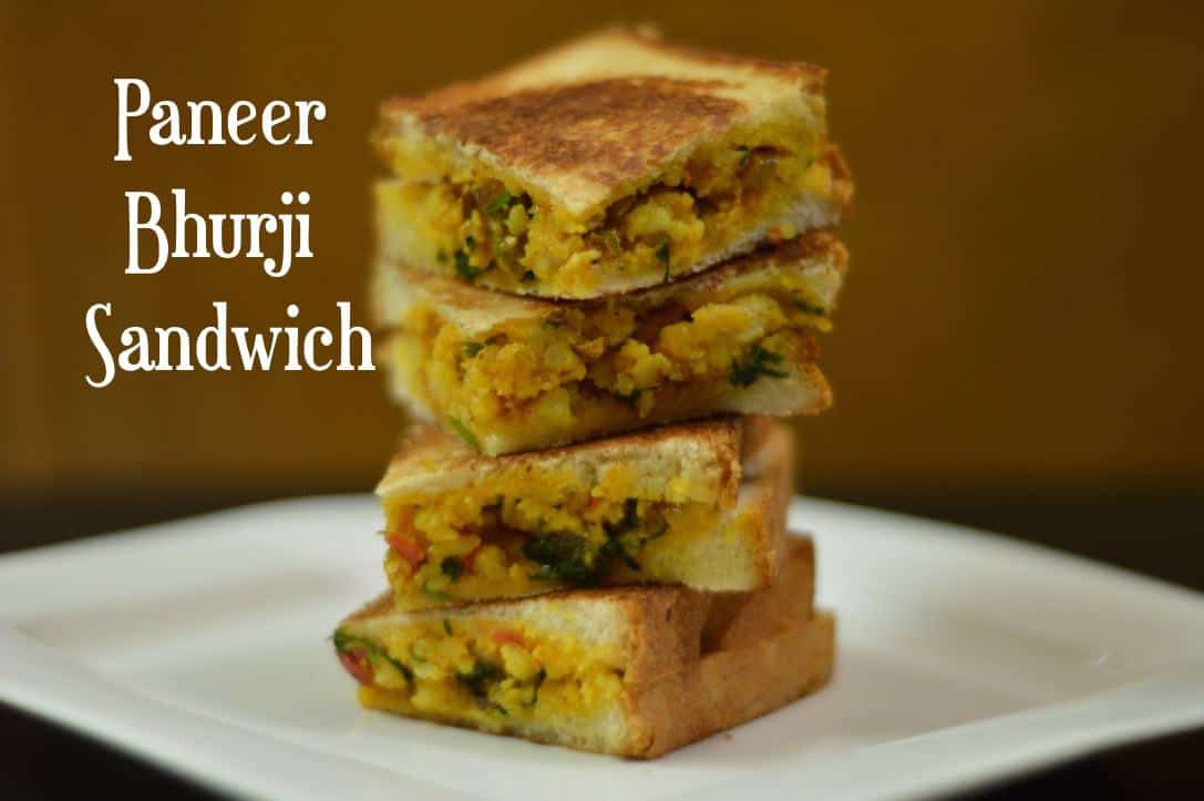 Paneer Bhurji Sandwich|Paneer Sandwich is a quick and healthy sandwich prepared with spiced paneer/cottage cheese filling in it