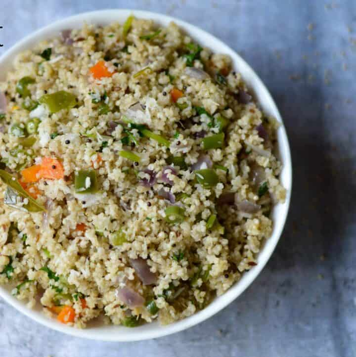 Little Millet Upma served in a bowl