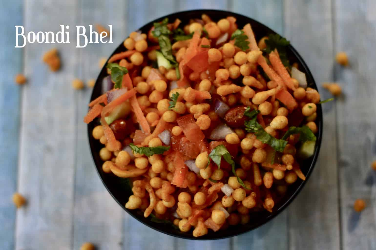 Boondi Bhel|Boondi Chaat is a perfect Tea time snack. Quick, easy , tasty , healthy and crunchy.It can be made in less than 10 minutes.