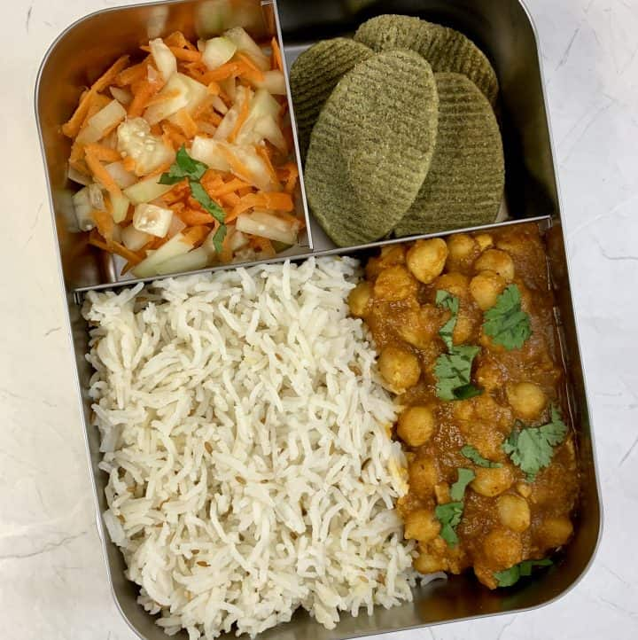 lunchboxidea17 chole jeera rice