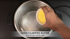 add ghee to instant pot insert
