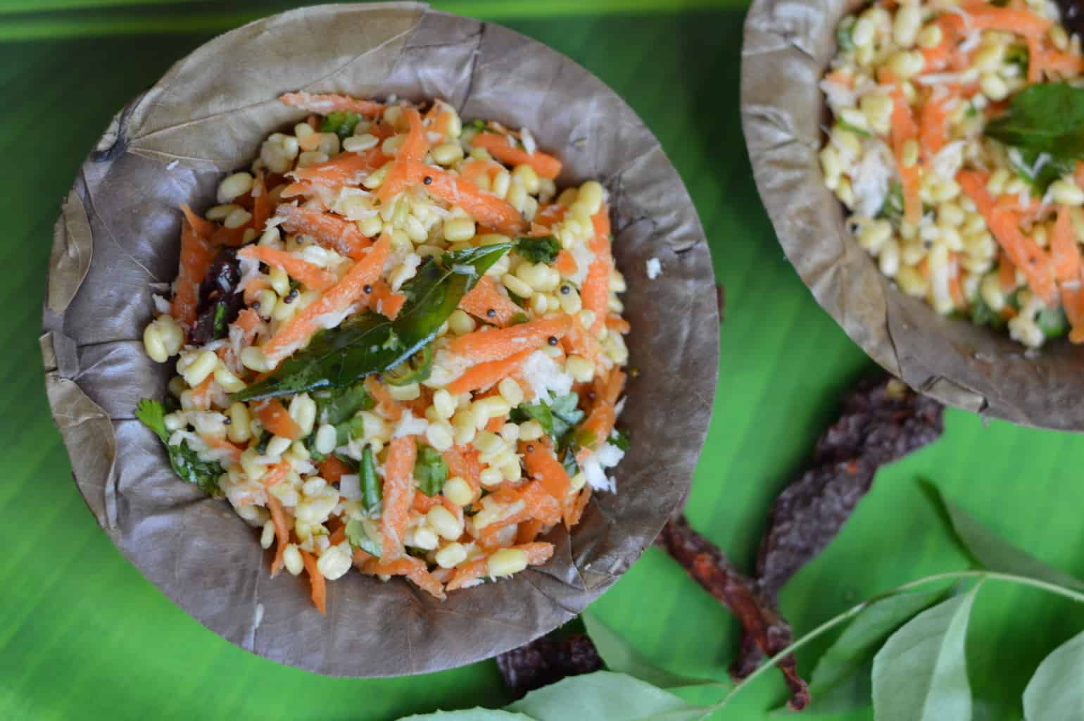 A South Indian style salad, from the state of Karnataka is a part of every festive meal and celebration.Made using soaked split yellow moong dal ,grated carrot and grated coconut