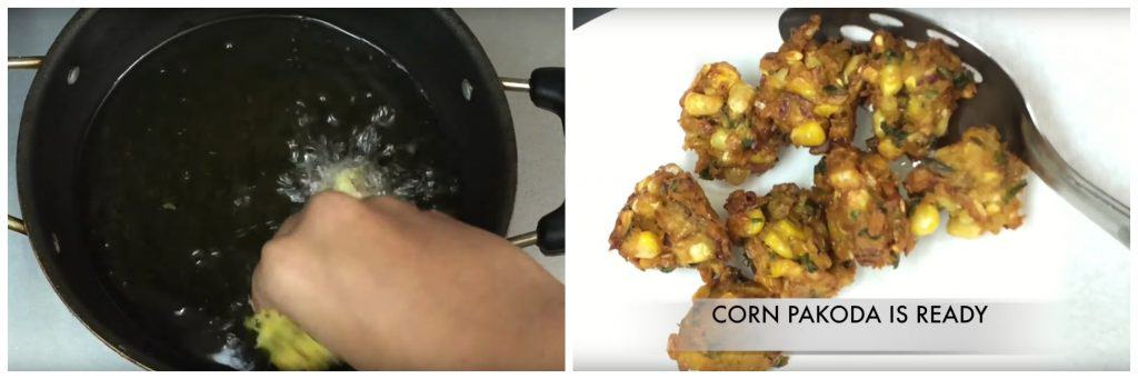 Corn Pakoda is an easy, delicious teatime snack or Indian starter dish which is made with chickpeas flour, sweet corn and regular Indian spices