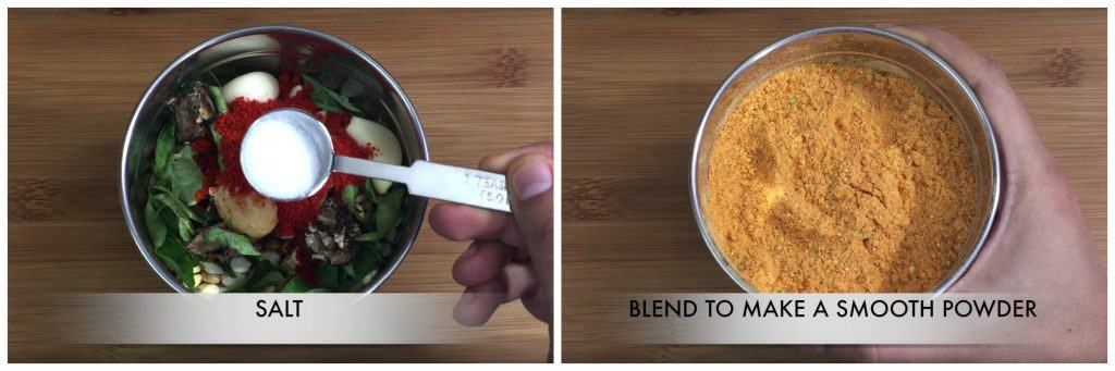 blend the ingredients  to a smooth powder