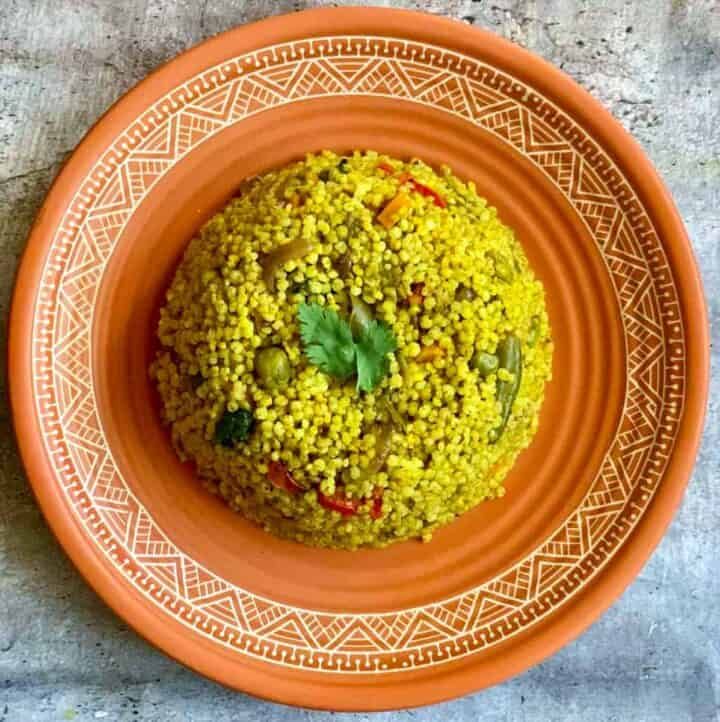 Kodo Millet Pulao served on a plate