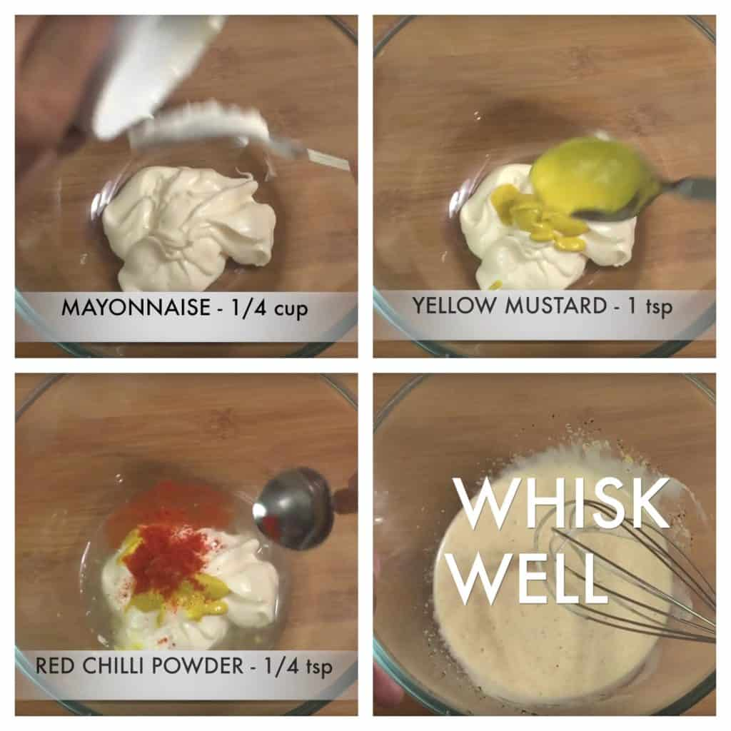 step to add mayonnaise and whisk collage
