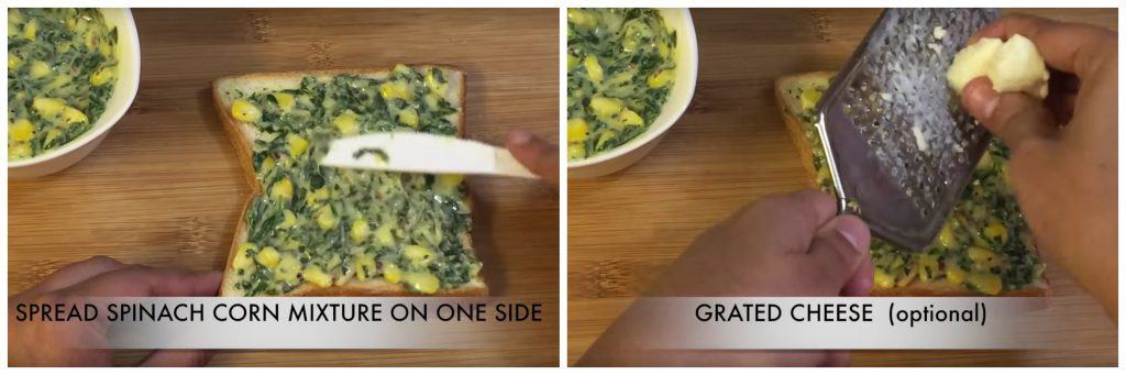 spread spinach corn mixture on bread