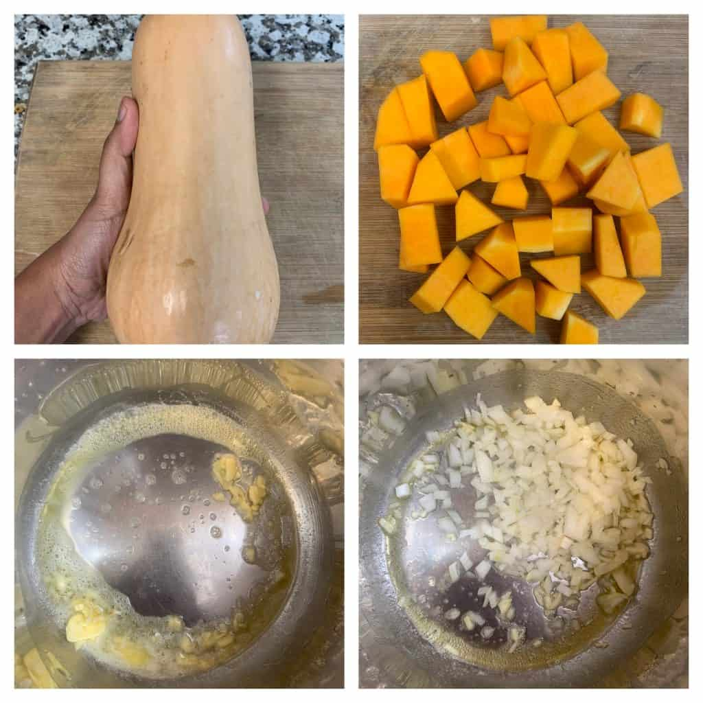 step to dice butternut squash and saute garlic collage