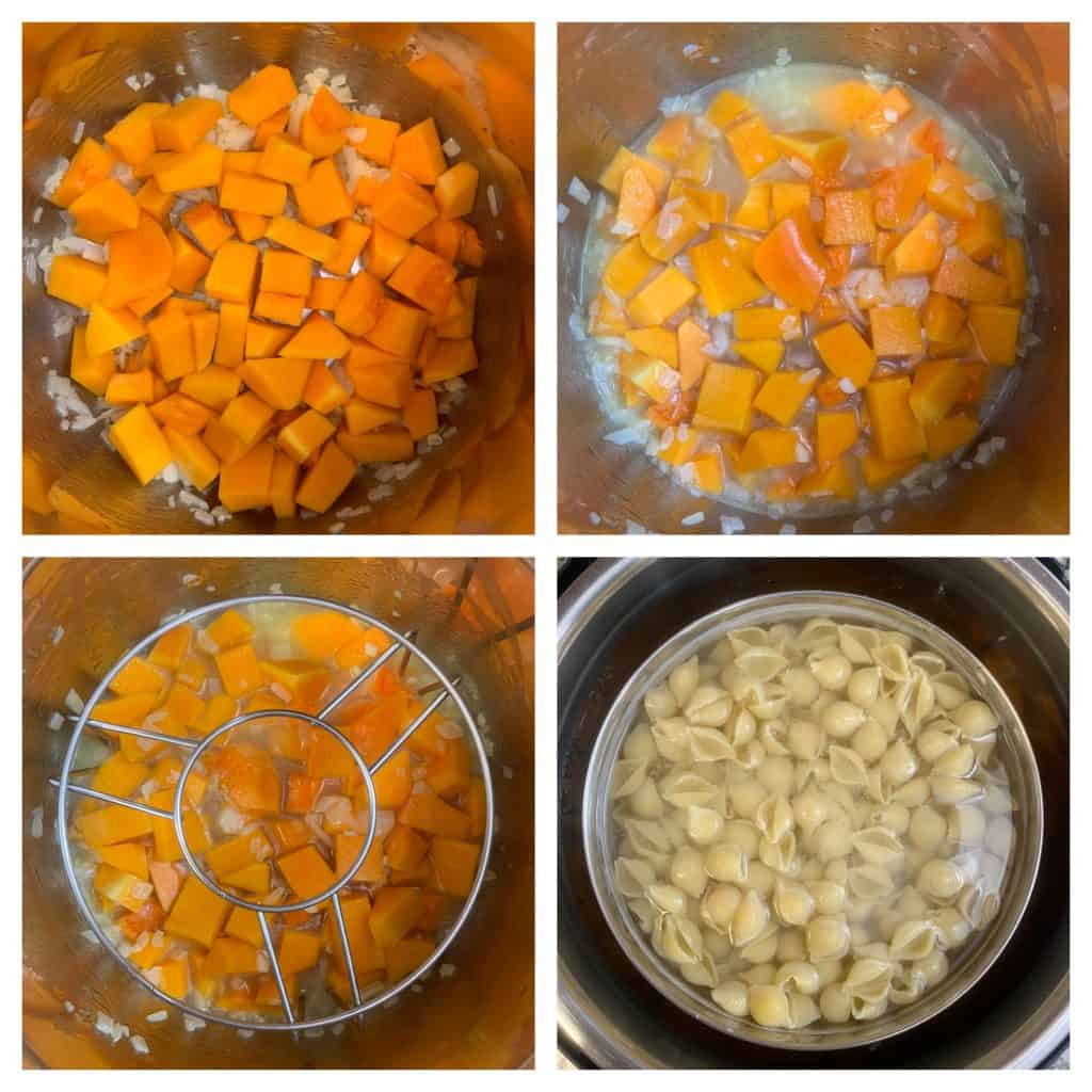 step to add butternut squash nad cook pasta pot in pot collage