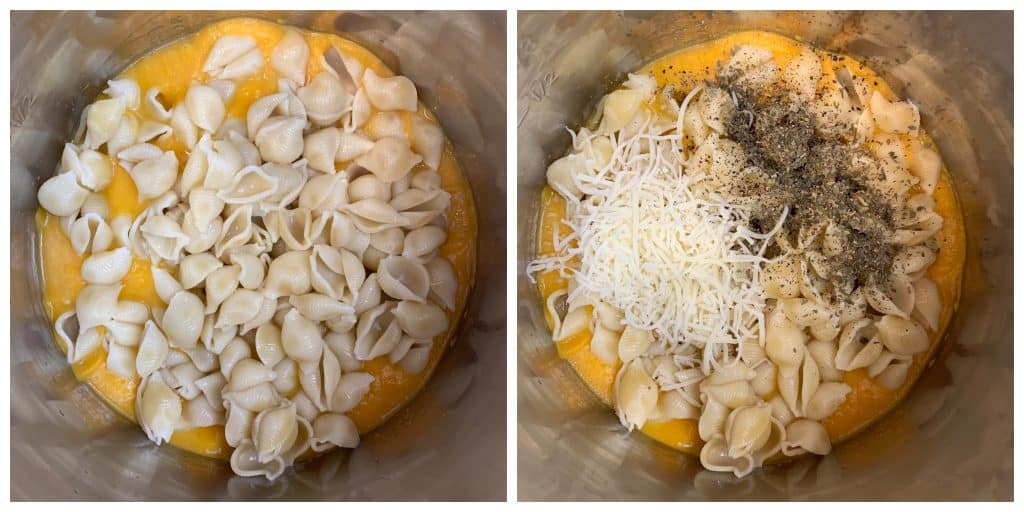 step to add cooked pasta to puree collage