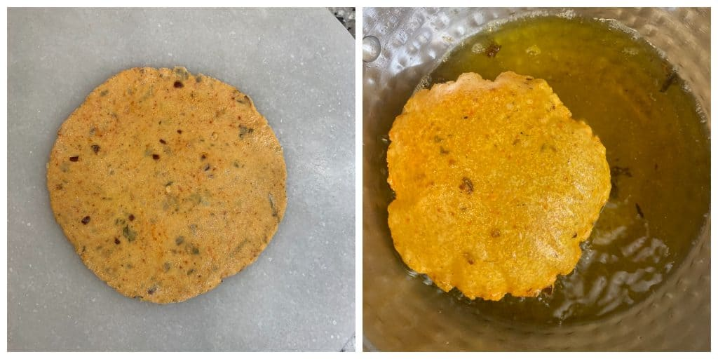 roll the poori and deep fry
