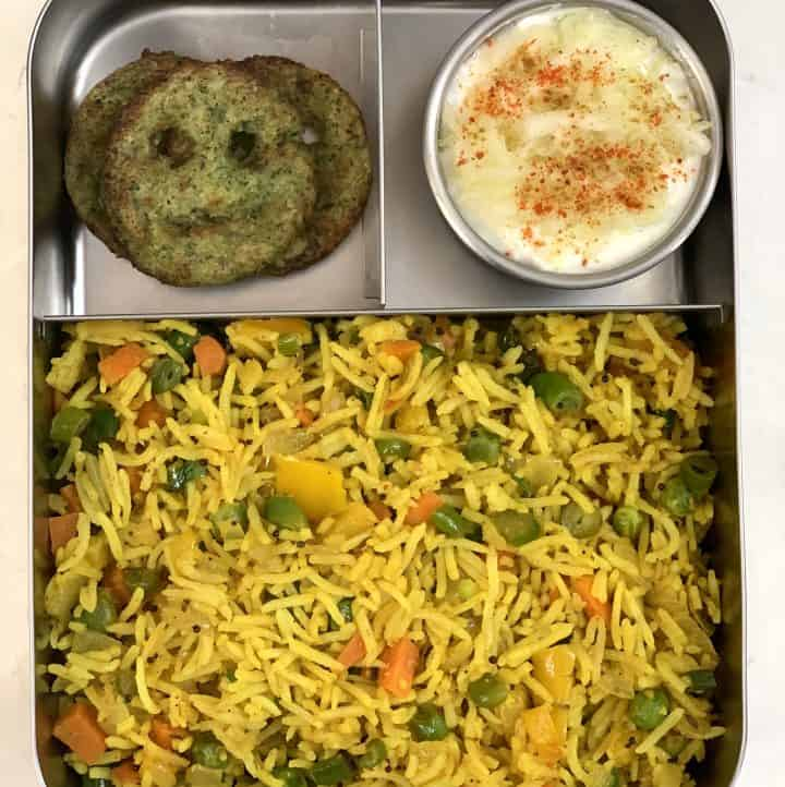Masala Rice + Lauki Raita + Broccoli Smileys
