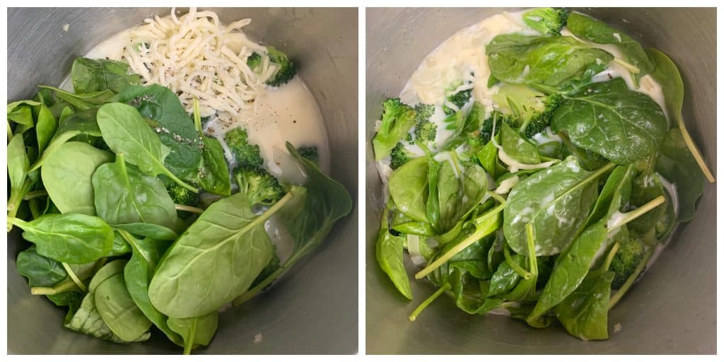 add cheese and spinach