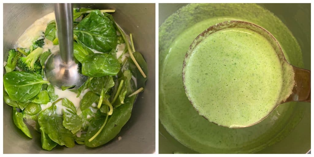 puree spinach and brococli