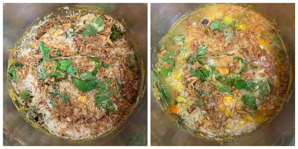 add fried onions and mint leaves to veg biryani in cooker