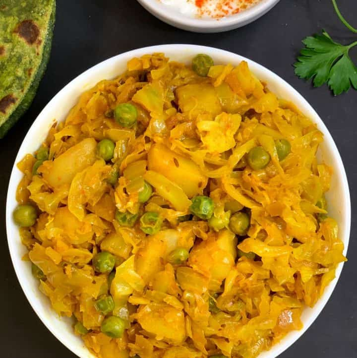cabbage potato peas curry