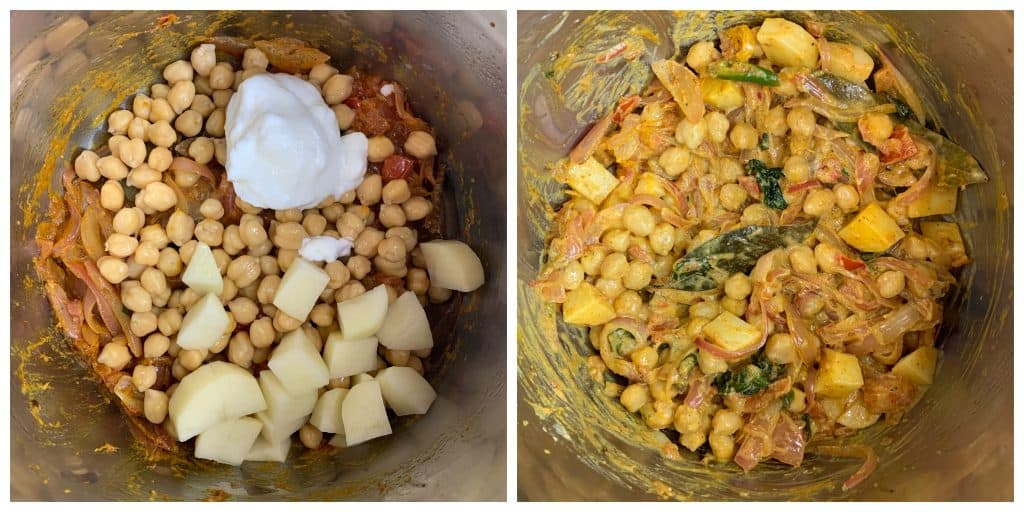 step to add yogurt potatoes and chickpea collage