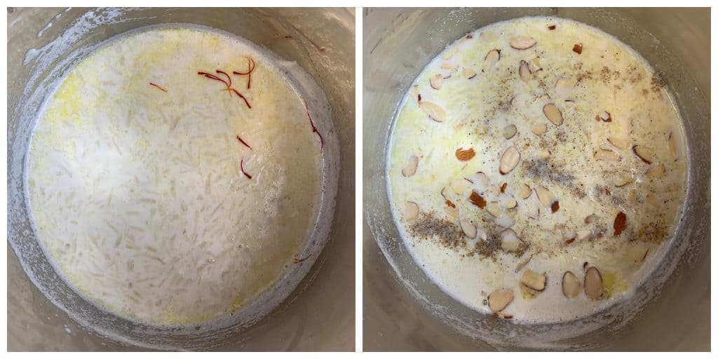 after pressure cooking lauki ki kheer ,add saffron milk,nuts and cardamom