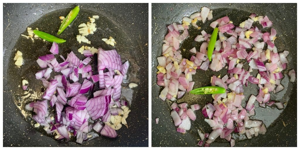 saute onions and chillies