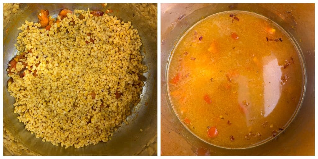 step to add lentil and water to make yellow lentil soup collage