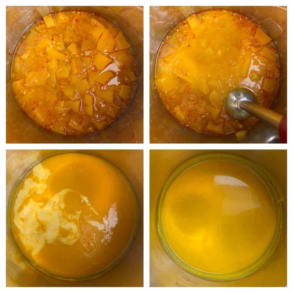 puree the soup using a hand blender and add coconut milk