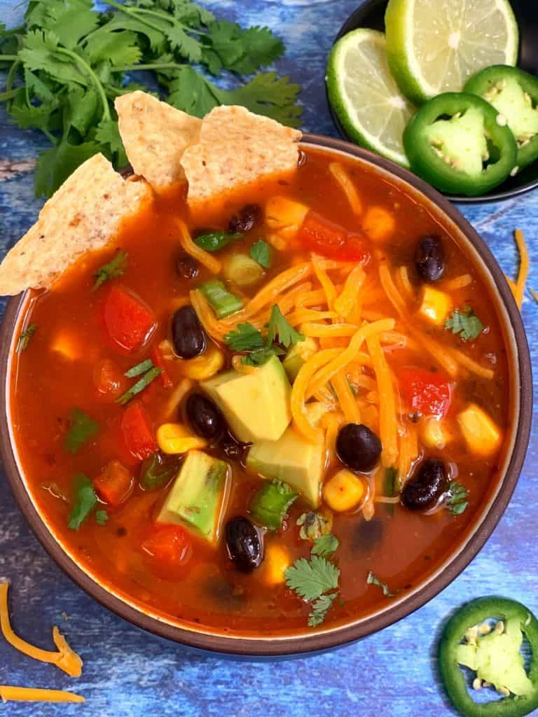 TACO MEXICAN SOUP WITH BLACK BEANS
