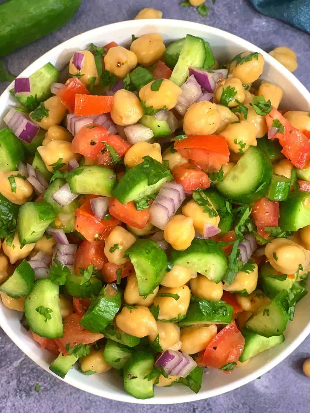High Protein Chickpea Cucumber Tomato Salad